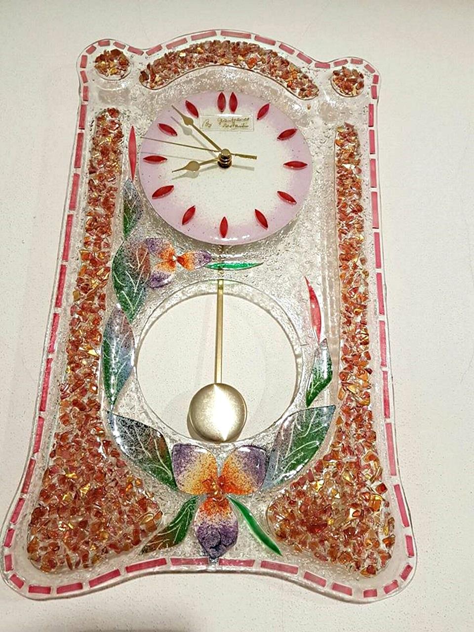 Orologio pendolo Malva vetro di Murano