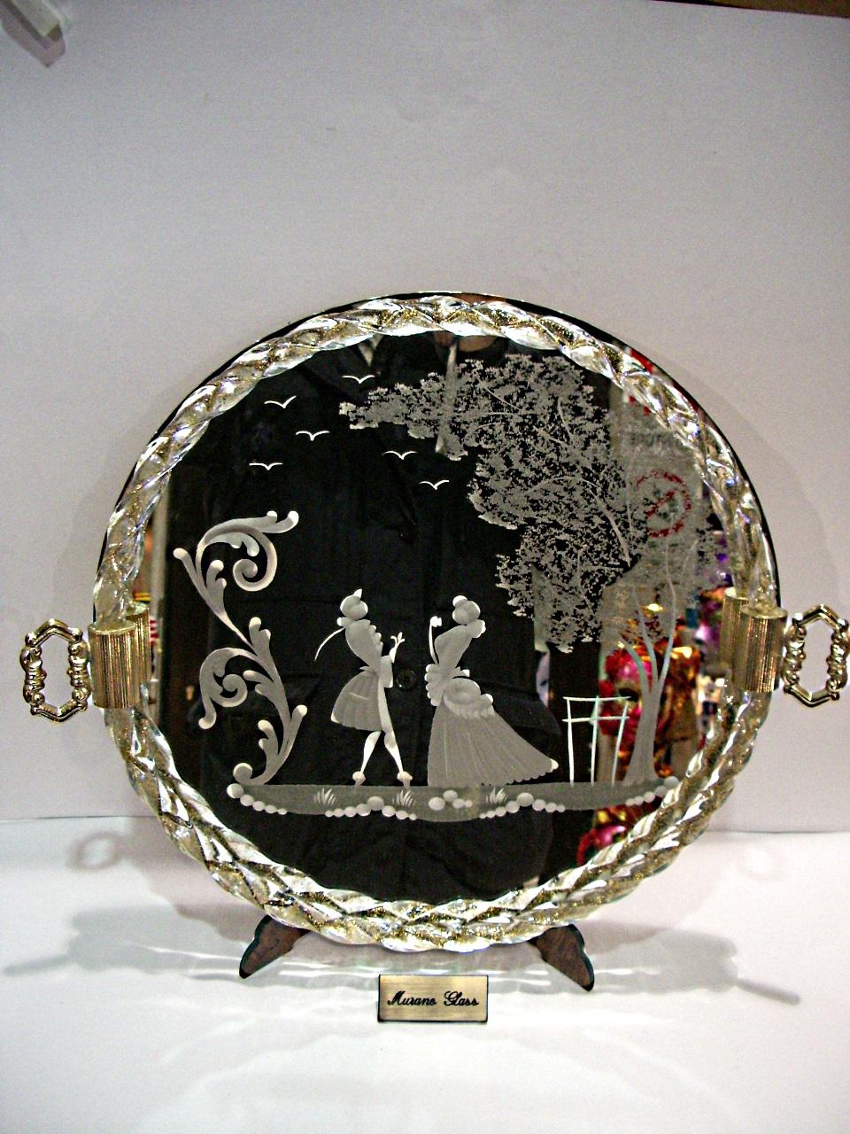 Specchio Veneziano Vassoio In Vetro Di Murano Venturini