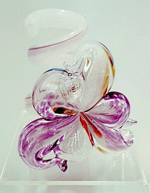 Portacandele vetro fiore rosa