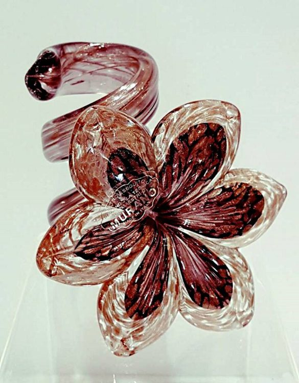 Portacandele vetro fiore marrone avventurina