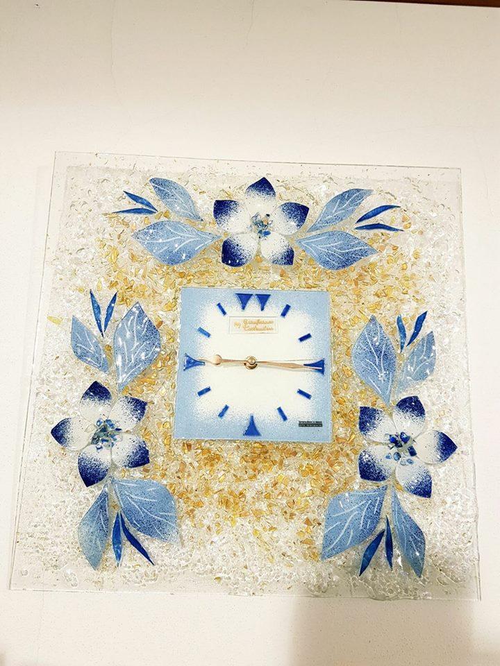 Orologio fiore celeste vetro veneziano