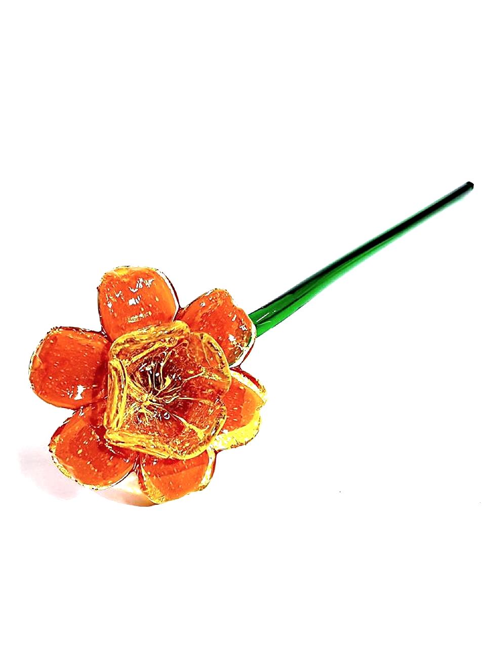 Fiore arancione di vetro veneziano