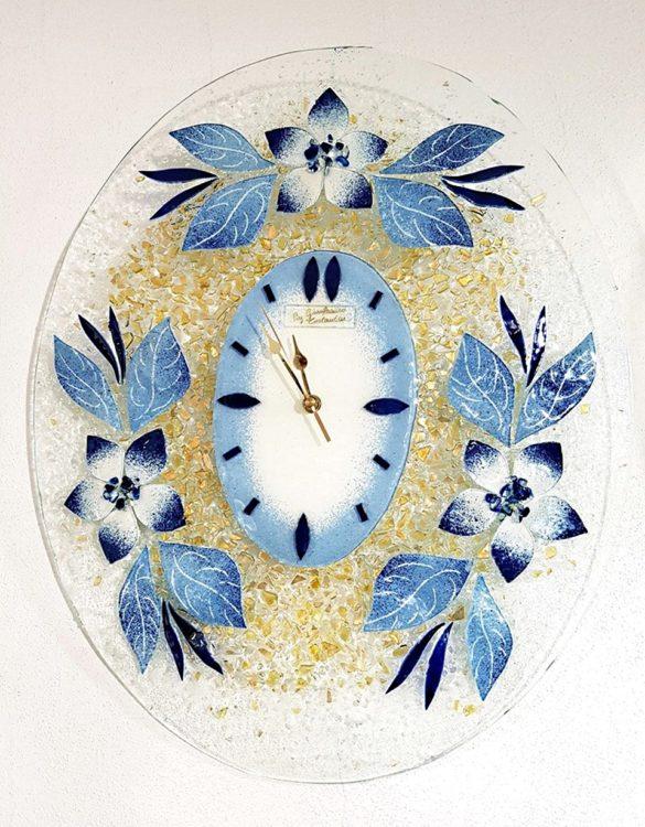 Orologio fiore blu ovale