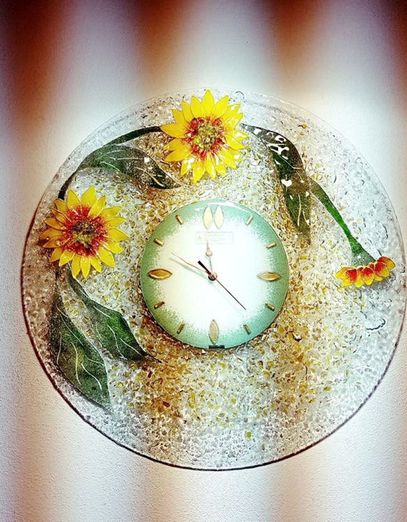 Orologio girasole vetro di murano 60 x 60 cm