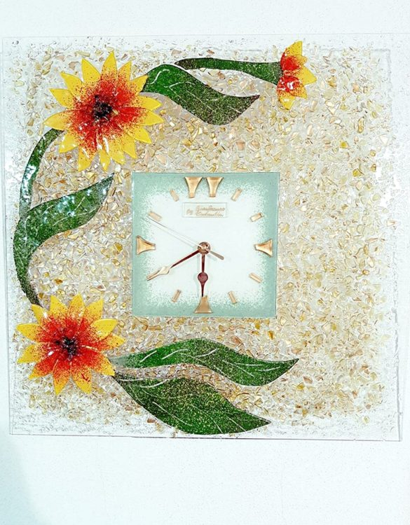 Orologio girasole vetro di murano 45 x 45 cm