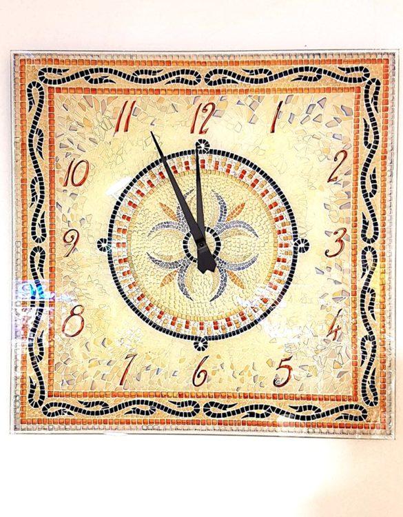 Orologio da parete vetro serigrafato mosaico beige