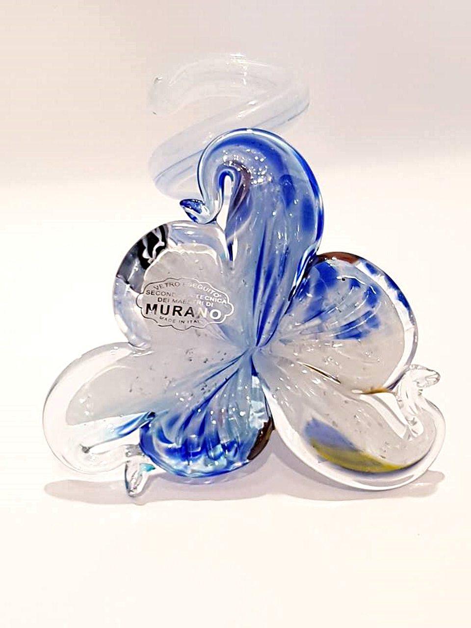 Portacandele vetro fiore blu