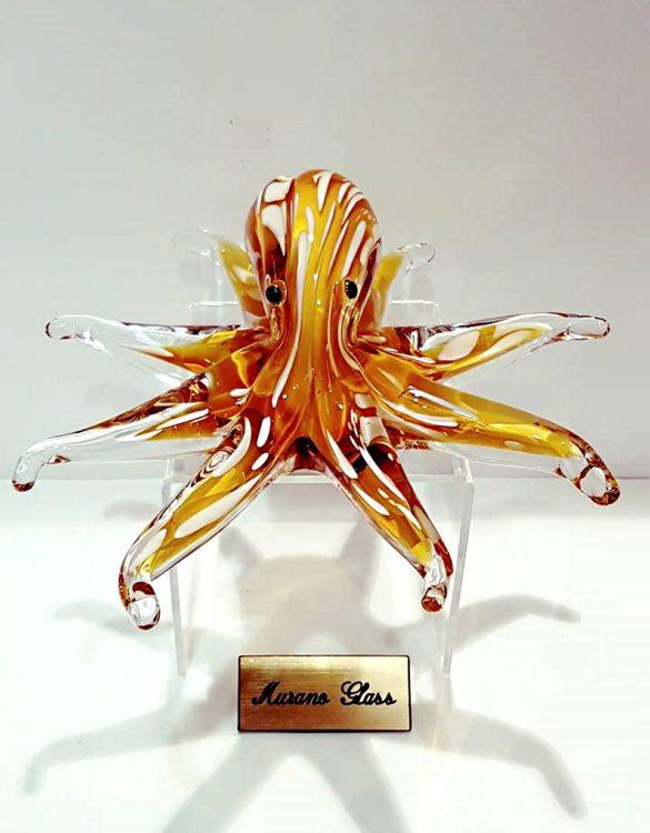 Polipo vetro veneziano ambrato