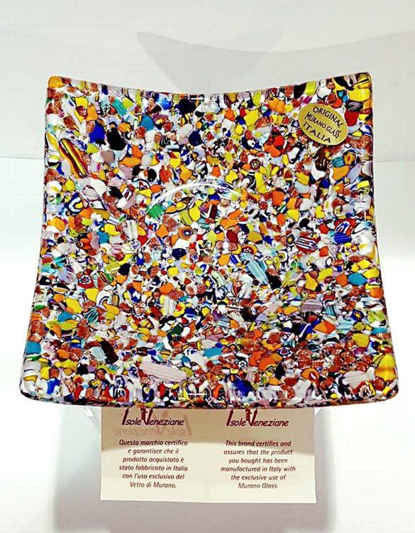 Piattino quadrato scodella murrina 12 x 12 cm