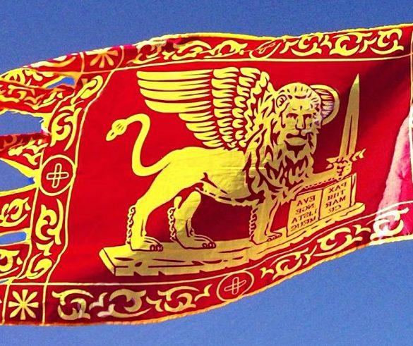 Bandiera Galeone San Marco tagliata leone con spada