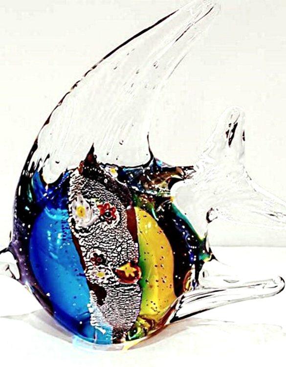 Pesce luna marrone e blu con murrina vetro murano