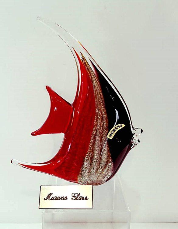 Pesce luna rosso con avventurina in vetro di murano