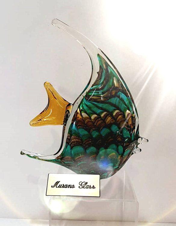 Pesce verde con avventurina vetro murano