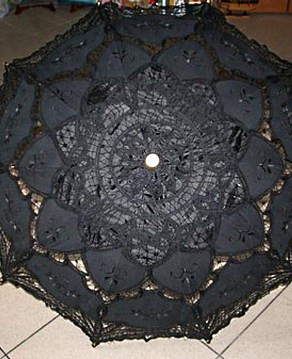 Ombrello pizzo veneziano artigianale nero