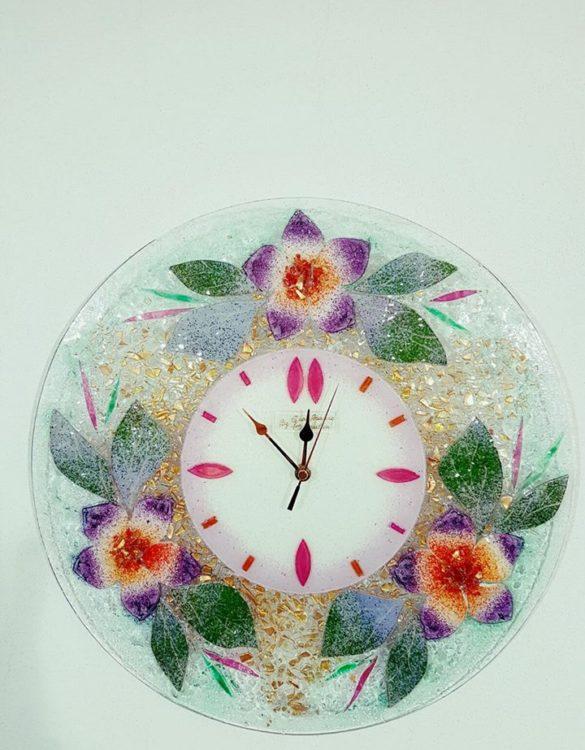 Orologio in vetro di murano malva rotondo