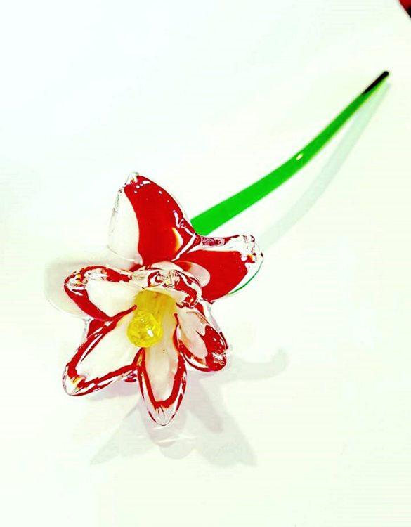 Fiore rosso e bianco di vetro di murano