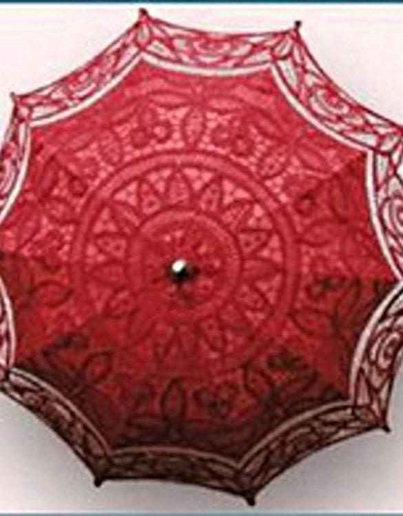 Ombrello pizzo veneziano artigianale rosso