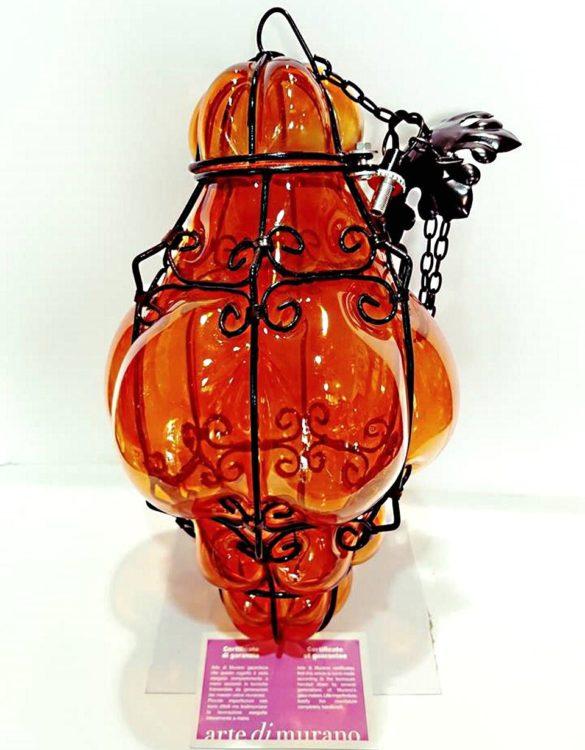 Lanterna veneziana grande in vetro artistico colore arancio