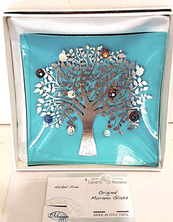 Piattino albero della vita argentato con murrine celeste