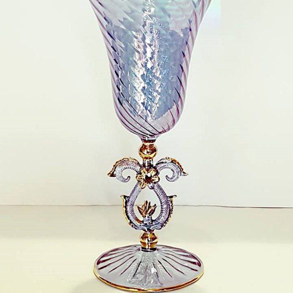 Bicchiere tipetto gambo blu