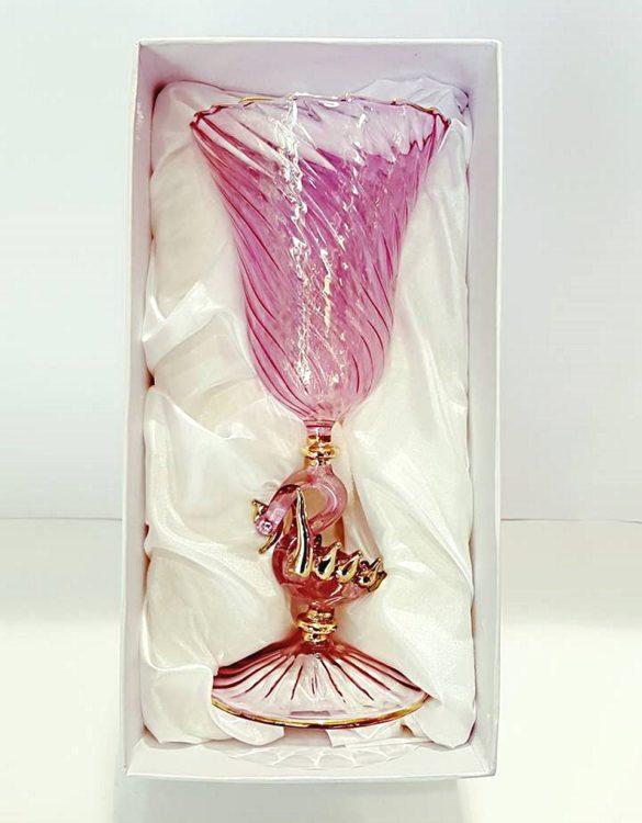 Bicchiere tipetto gambo cigno rosa