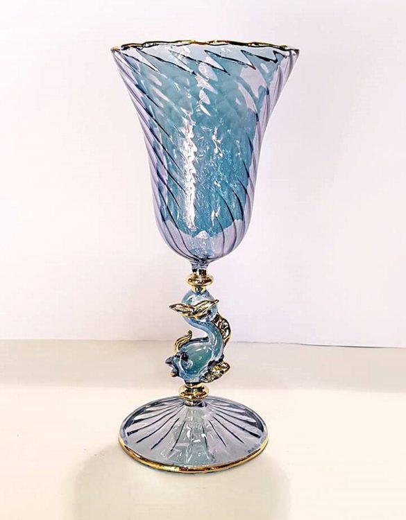 Bicchiere tipetto gambo cigno blu