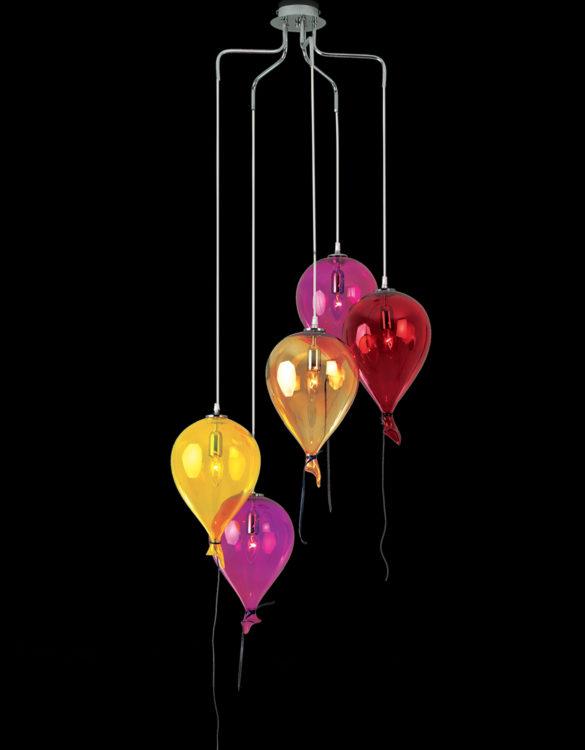 Lampadario palloncini 5 luci vetro Murano