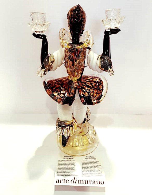 Moro veneziano candeliere con gonna vetro di murano