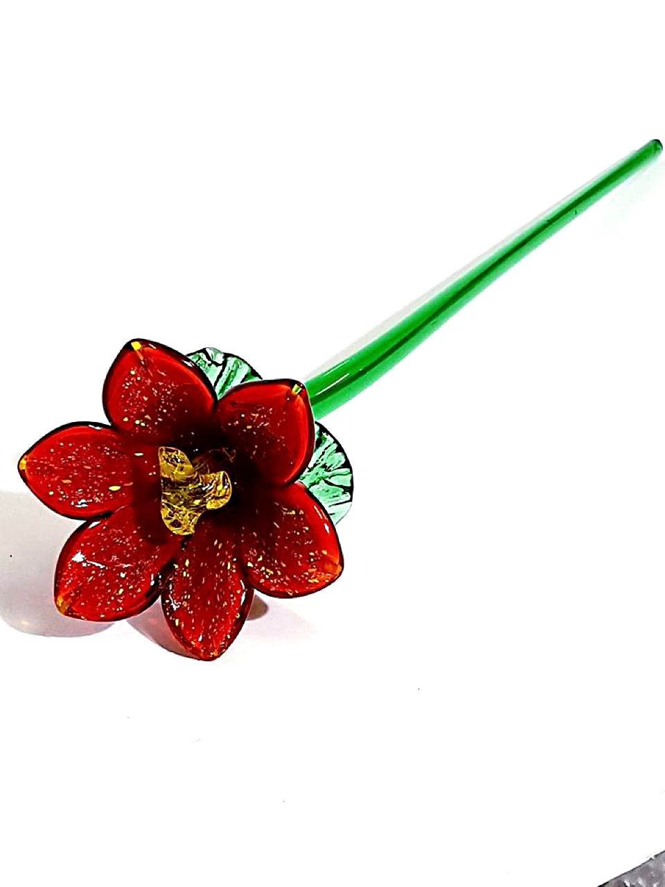 Fiore di vetro di murano rosso
