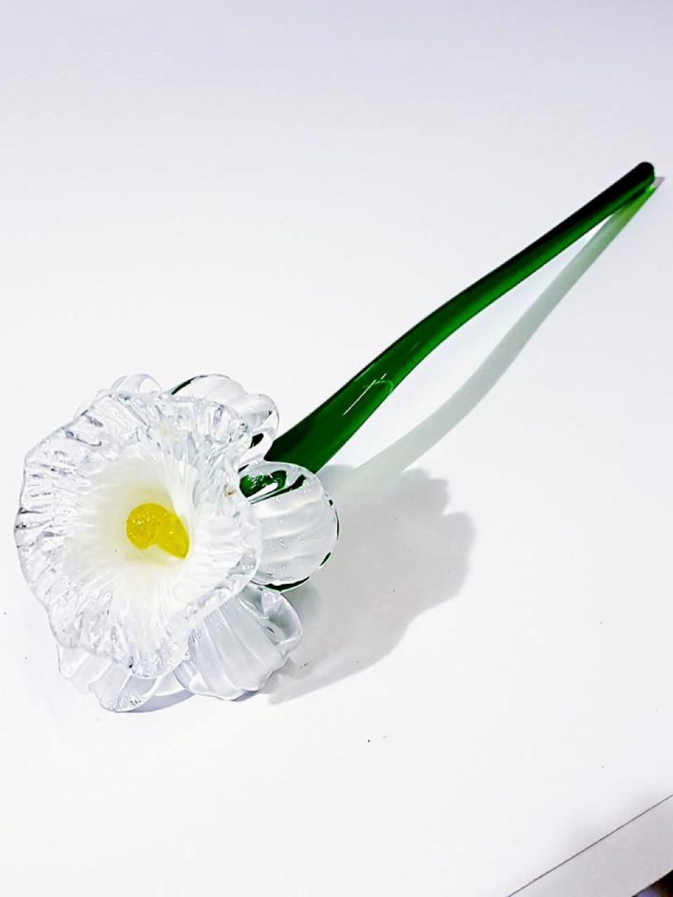 Fiore bianco in vetro veneziano