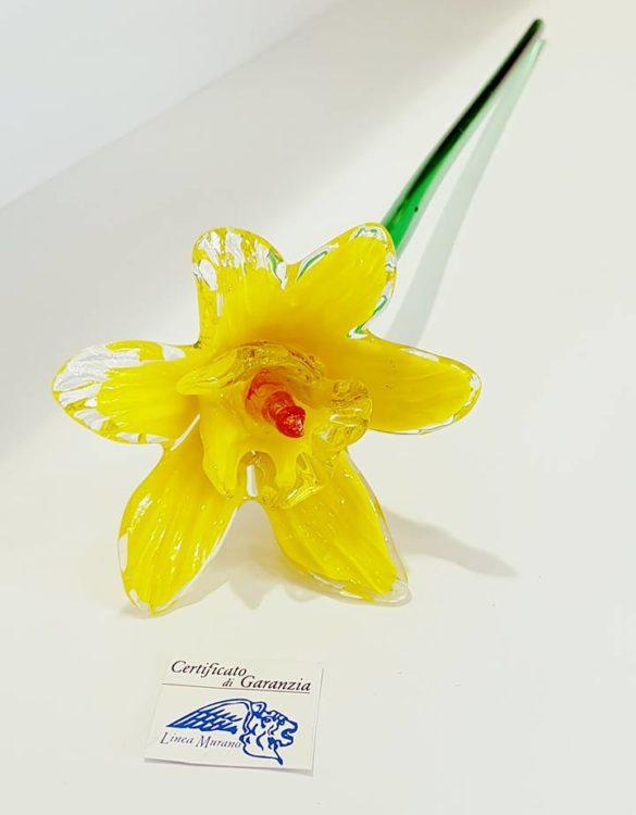 Fiore di vetro di murano margherita giallo