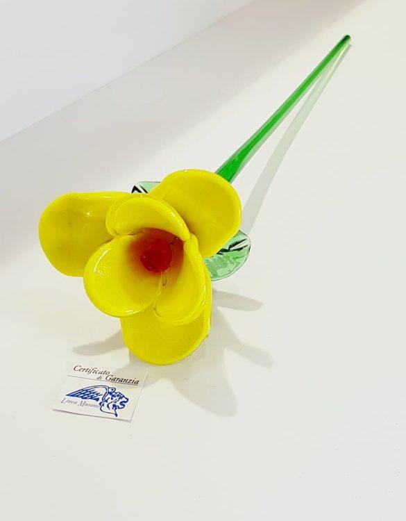 Fiore di vetro di murano giallo