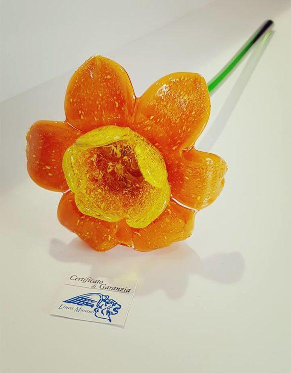 Fiore di vetro di murano arancione