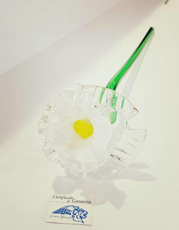 Fiore di vetro di murano bianco
