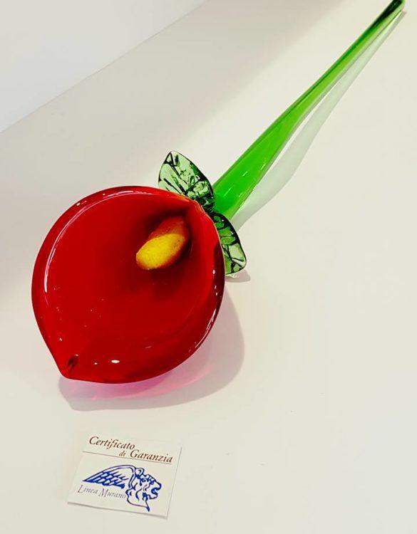 Fiore di vetro calla rossa