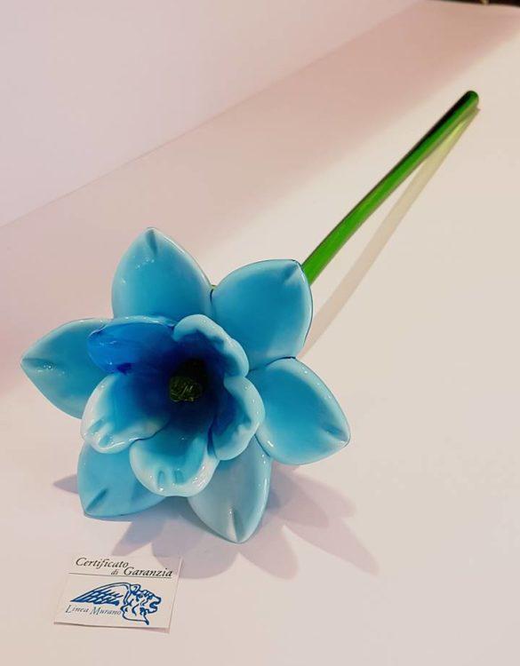 Fiore di vetro di murano celeste