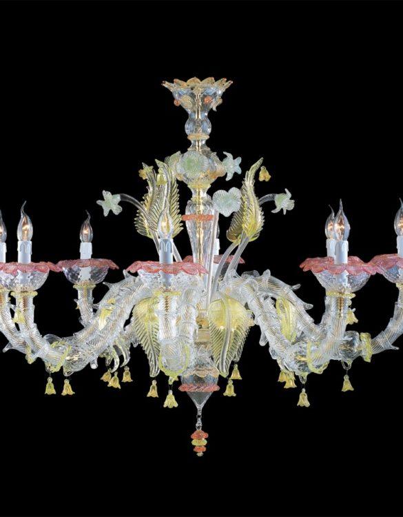 Lampadario vetro di murano onde 8 luci