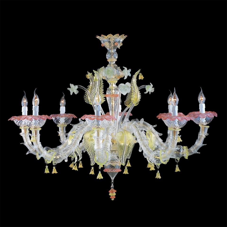 Lampadario vetro di murano onde 8 luci — Venturini Souvenirs - Vetro ...