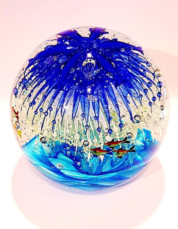 Palla di vetro acquario media che si illumina di notte