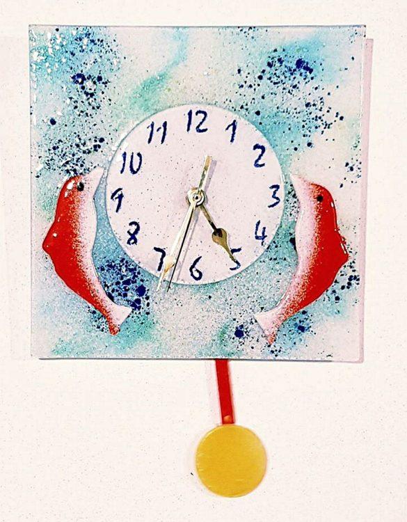 Orologio pendolo delfini quadrato