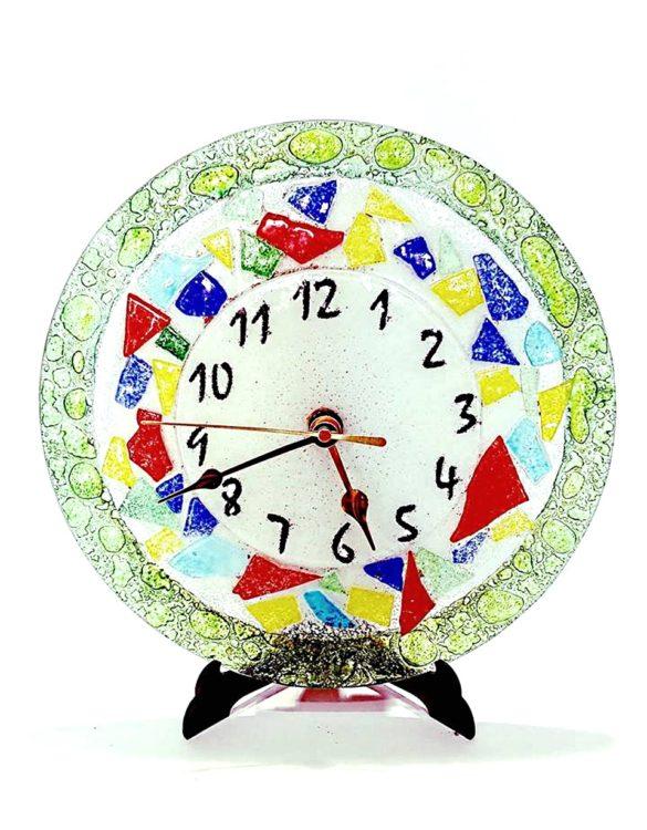 Orologio multicolore vetro rotondo
