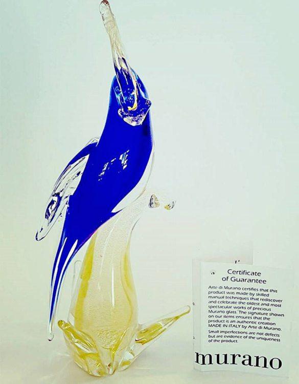 Pappagallo piccolo blu in vetro di murano