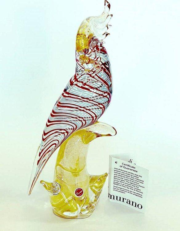 Pappagallo filigrana in vetro di murano
