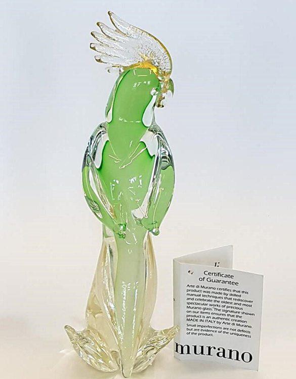 Pappagallo piccolo verde in vetro di murano
