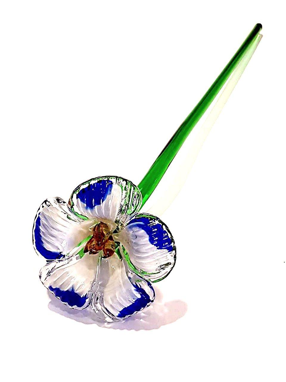 Fiore di vetro di murano celeste bianco