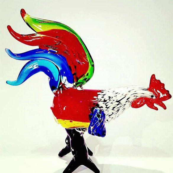 Gallo multicolore in vetro di murano