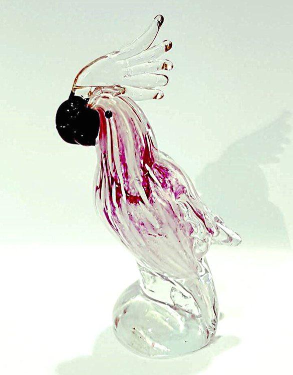 Pappagallino rosa in vetro di murano