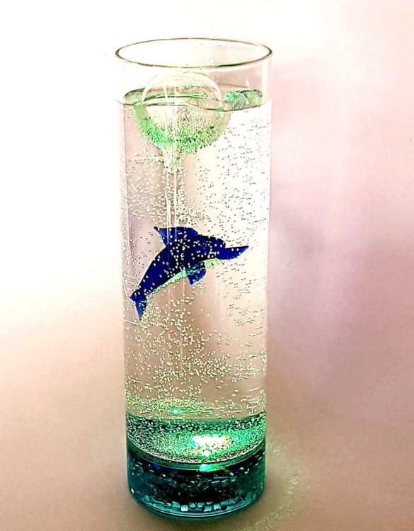 Acquario con luce pesce galleggiante