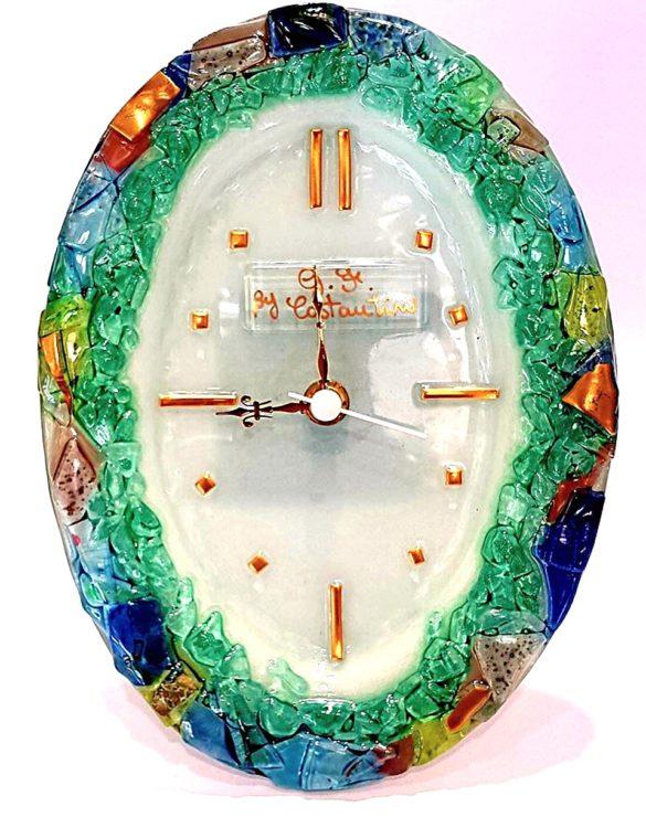 Orologio da tavolo ovale in vetro di murano