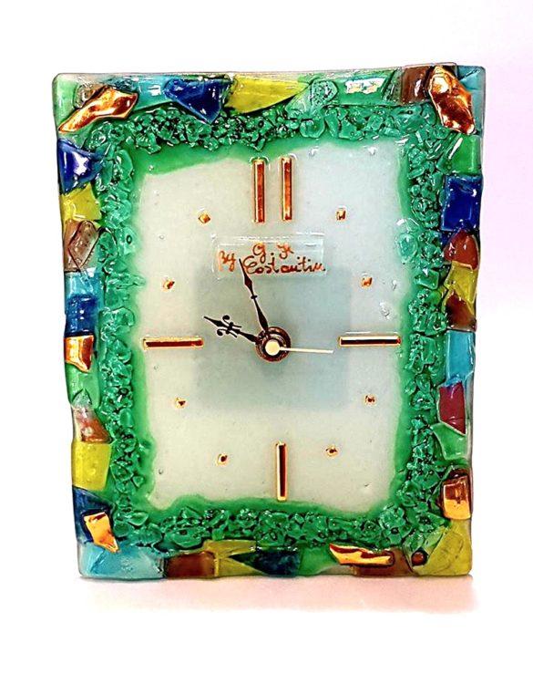 Orologio da tavolo rettangolare in vetro di murano